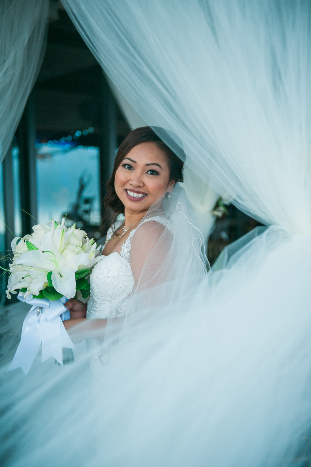 Bride smiling through tuile