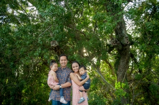 Family with forest background