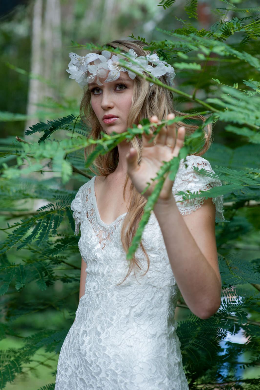 Bride with green branches
