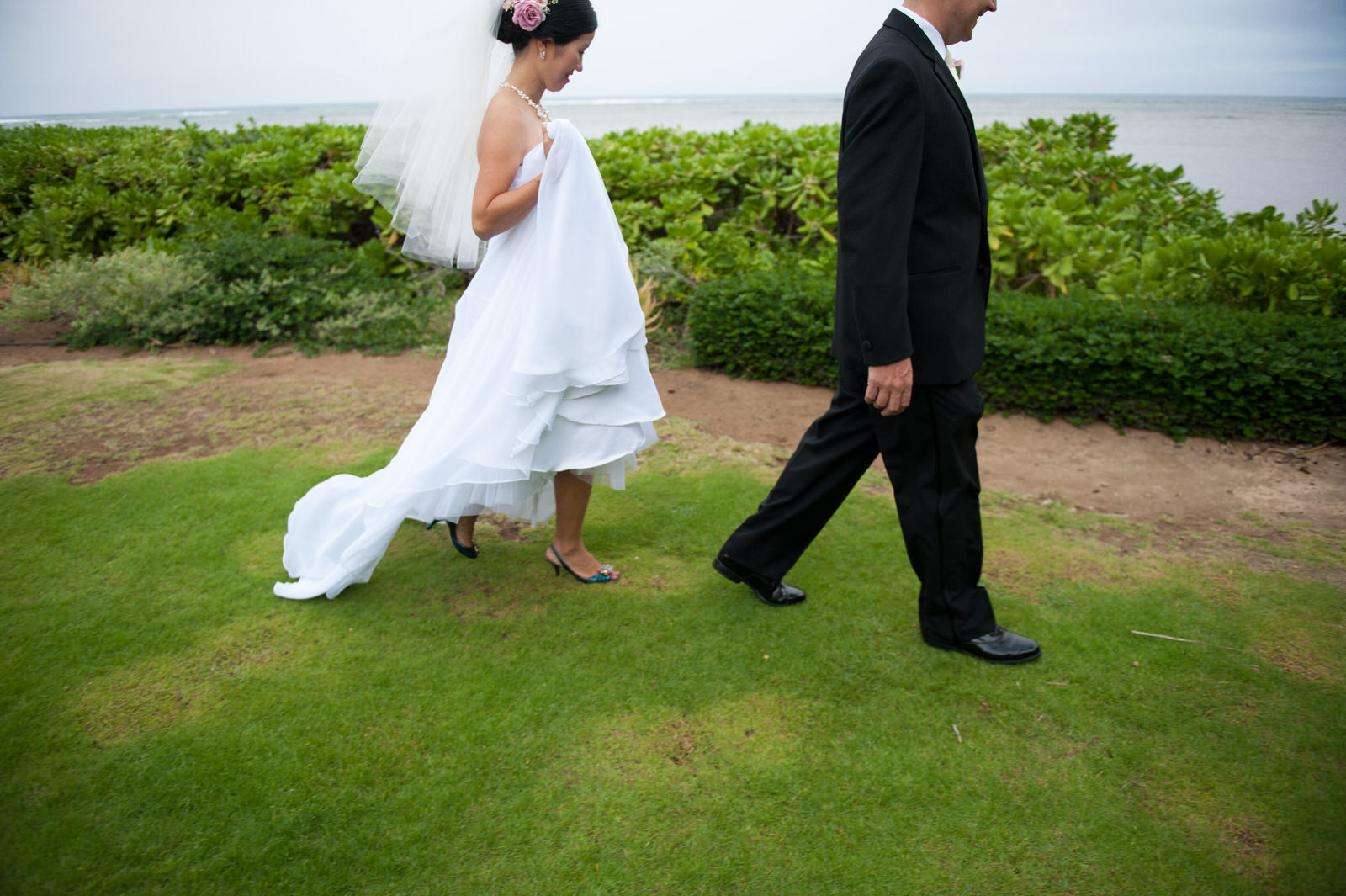 Bridal couple walking together