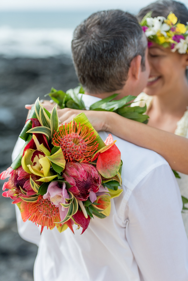 Close up of protea bouquet made by bride