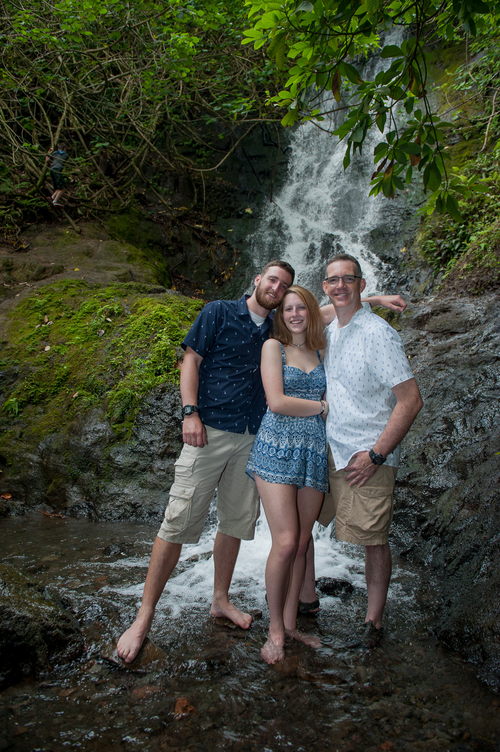 Family photo at Likeke Waterfall