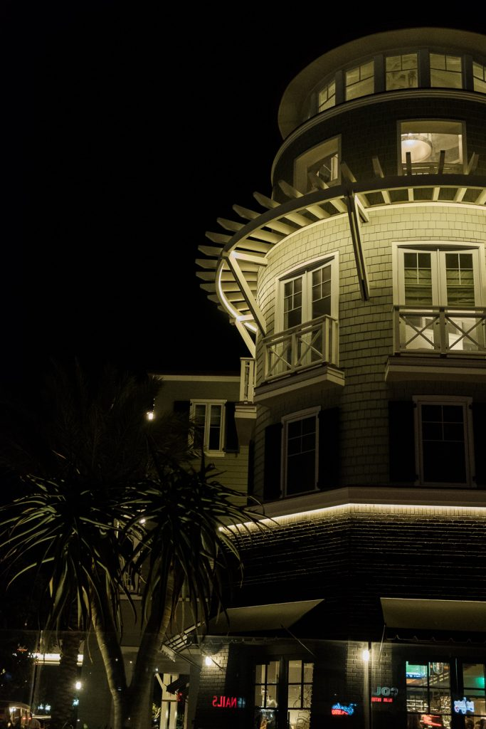 Lido house lighthouse at night