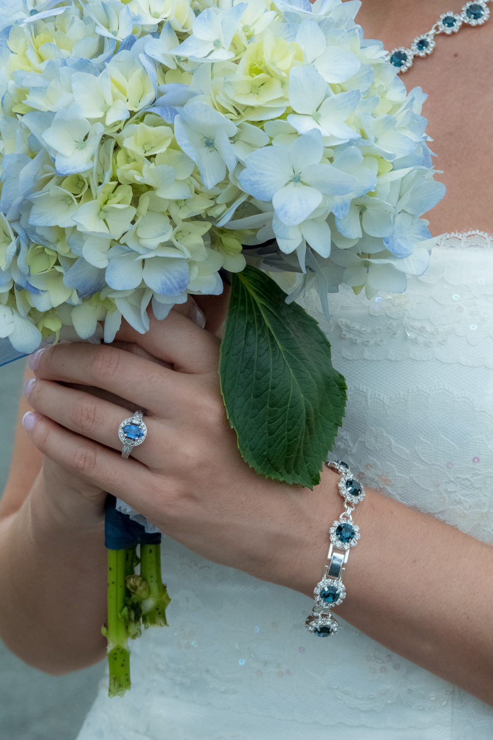 Stunning blue jewelry details in ring and bracelet