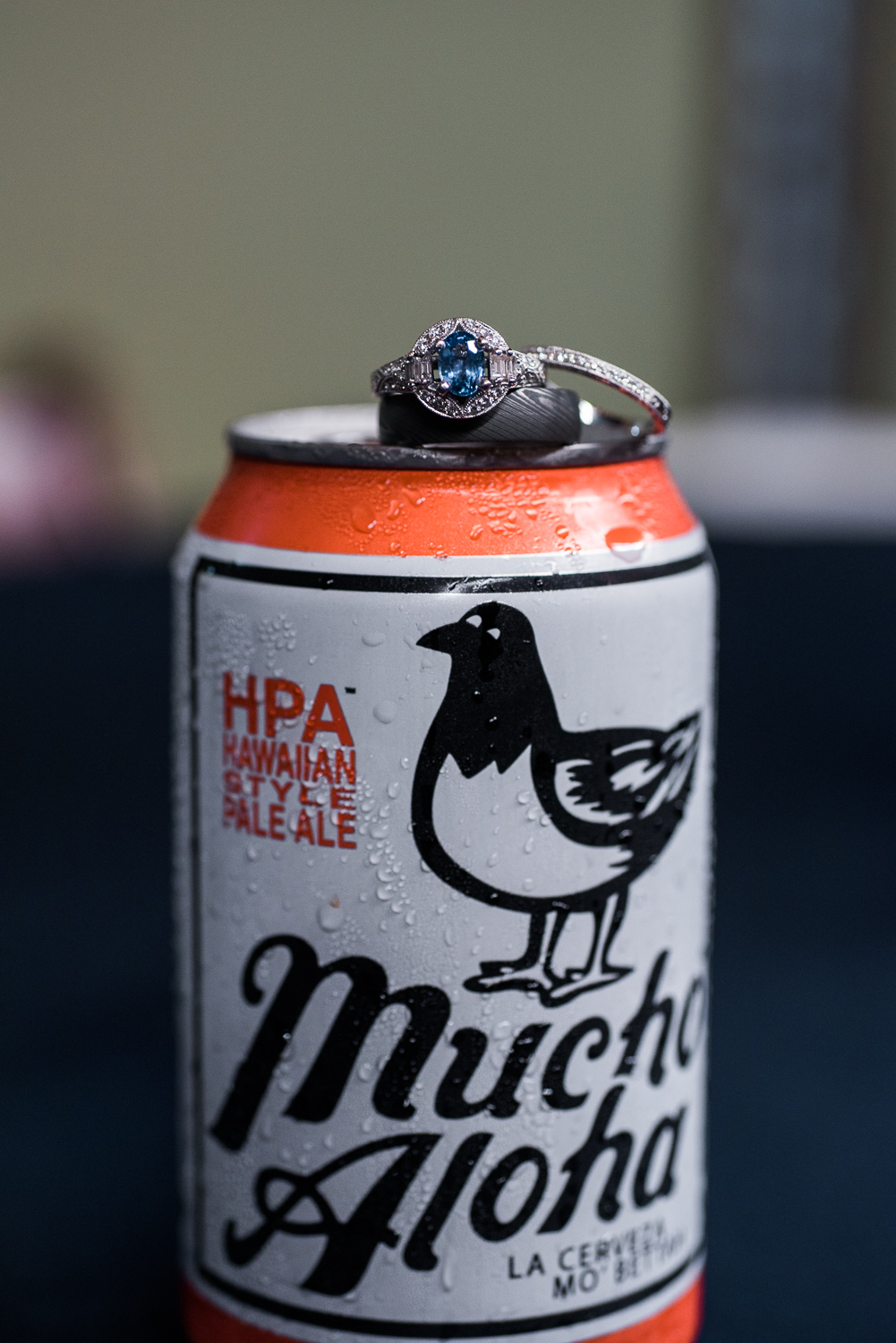 Wedding ring on Mucho Lucha beer can