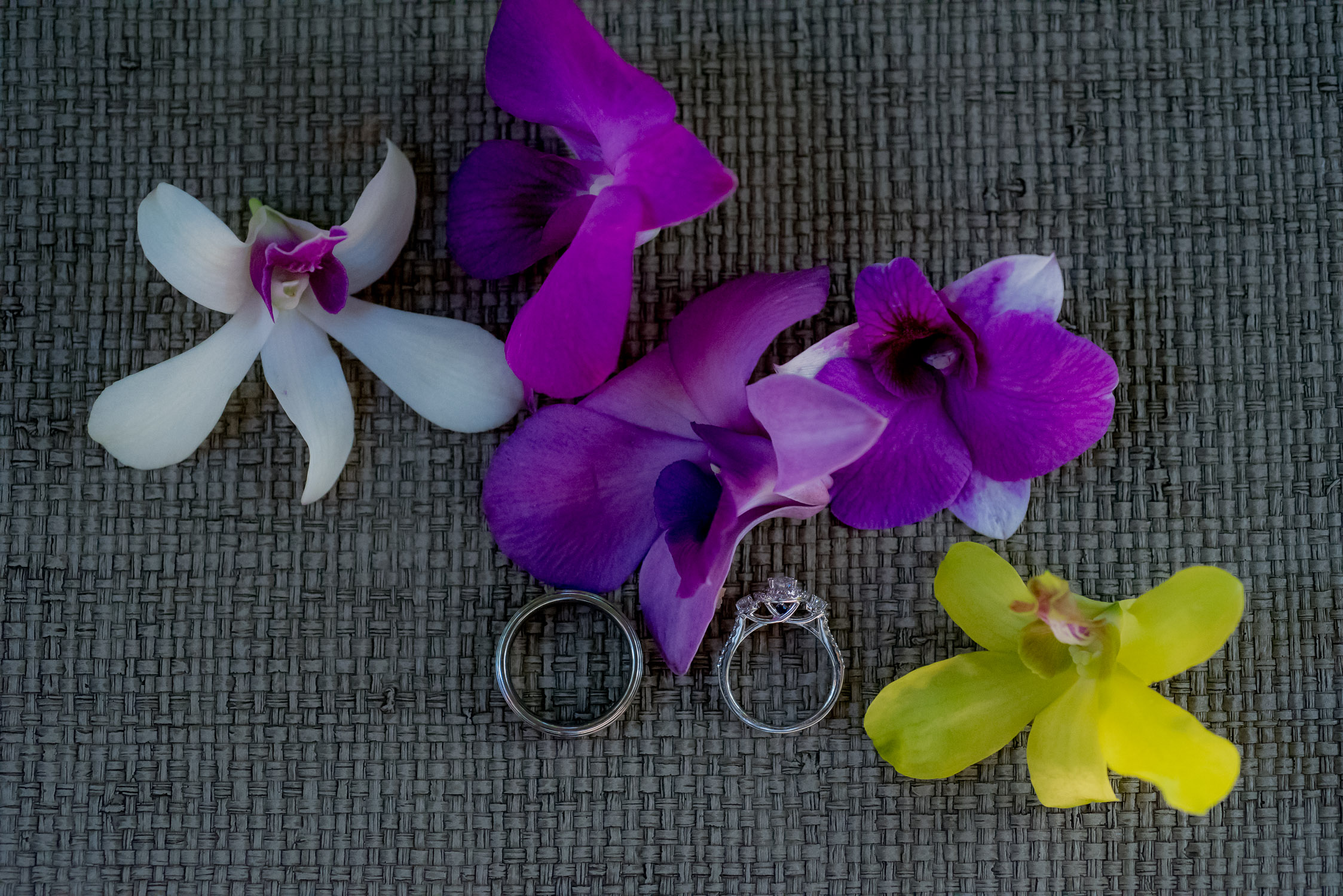 Ring shot with purple orchids
