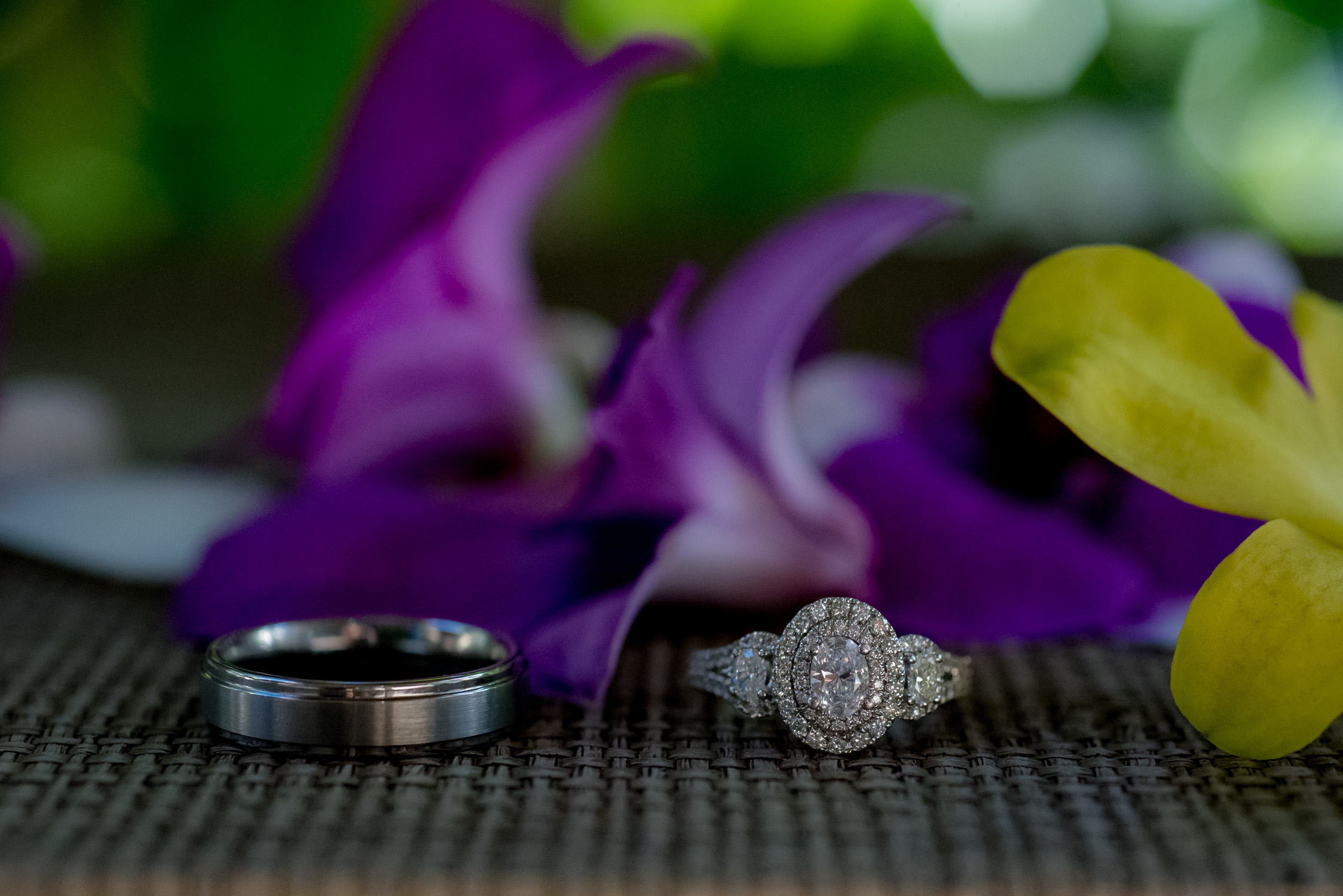 Close up of ring shot with purple orchids