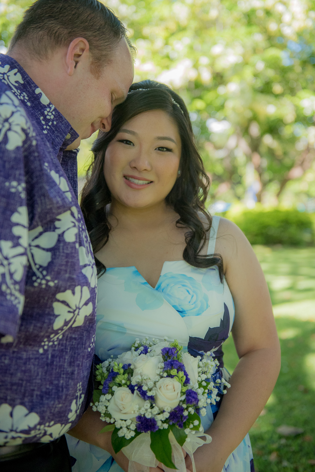 Bride in purple with Groom