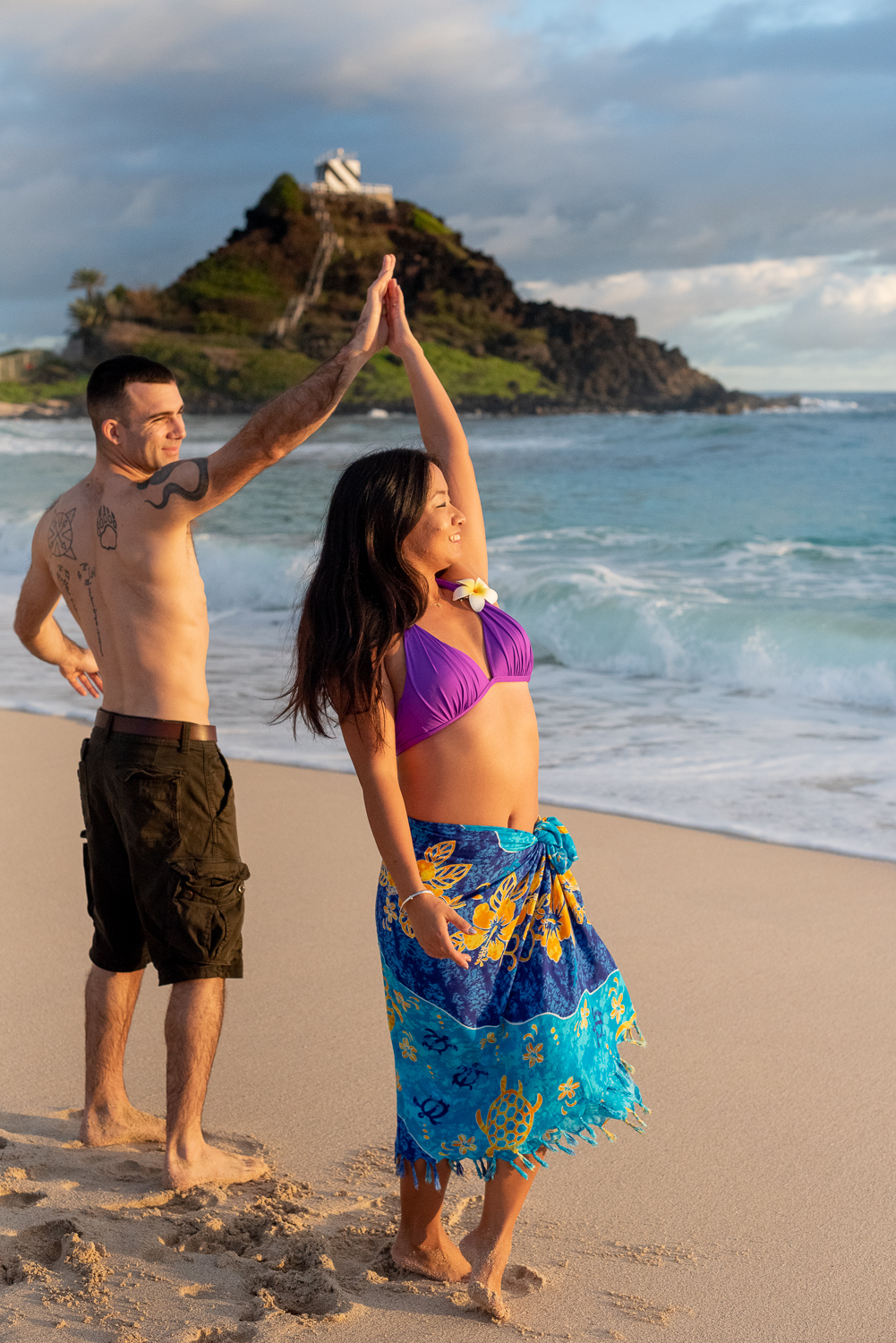 Couple dancing at Kaneohe Beach