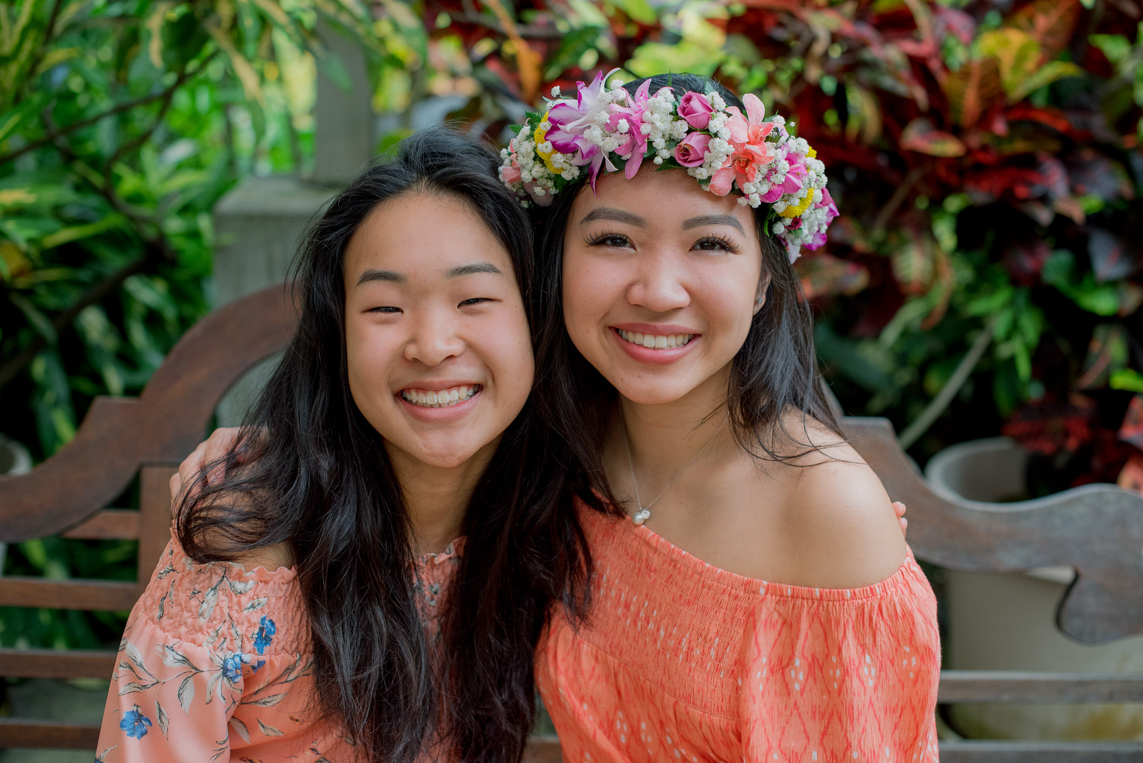 Girl and sister at Foster Botanical Garden