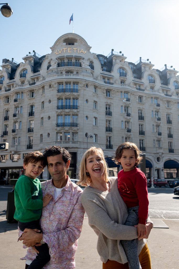 Family portrait in front of Parisian Hotel