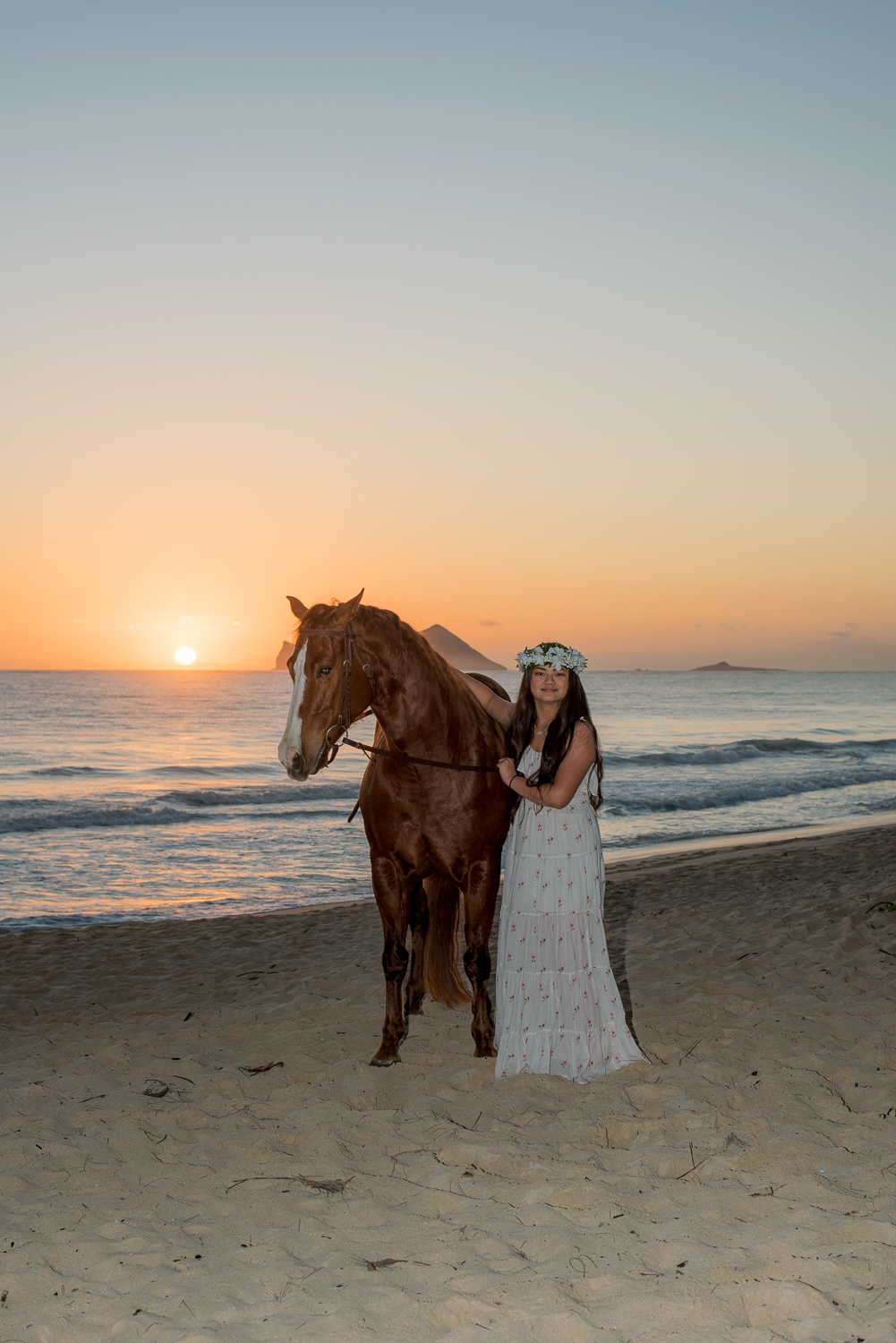 Girl with horse at sunrise
